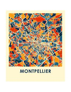 Montpellier Map Print - Full Color Map Poster Heat Map, City Map Poster, Art Carte, France Map, Abstract City, Poster Design Inspiration, City Maps, Map Design, Map Art