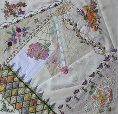 crazy quilt, love the seam on the right - Linda Steele Quilt Blog: Round Robin Final