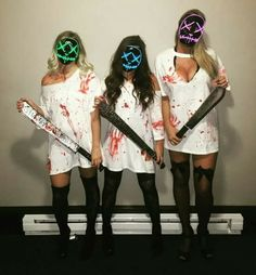 Pin for Later: halloween costumes Purge Halloween costume. Are you looking for easy pretty Halloween makeup ideas for women to look the best at the Halloween party? See our photo collage to pick the one that fits… Looks Halloween, Halloween Inspo, Homemade Halloween Costumes, Group Halloween Costumes, Cute Costumes, Couple Halloween, Halloween 2018, Group Costumes, Matching Costumes