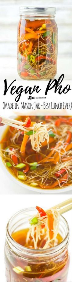 Pho Soup Made at Home in Mason Jars is perfect for those meal-prepping Sundays. Packed with vegetables, rice noodles and soothingly warm liquid you'll be looking forward to for lunch. (Gluten Free, Dairy Free, Vegan, Vegetarian) Why a mason jar though? Vegan Soups, Vegan Dishes, Vegan Vegetarian, Vegetarian Recipes, Healthy Recipes, Free Recipes, Easy Recipes, Vegan Food, Rice Vegan Recipes