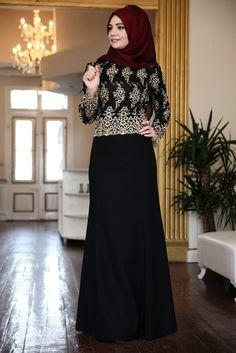Hanefix Gold Balık Tesettür Abiye Elbise