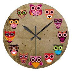 Beautiful Rustic Owls Wallclock