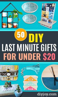 Cheap Last Minute Gifts DIY - Inexpensive DIY Gift Ideas To Make On A Budget - Homemade Christmas and Birthday Presents For Mom, Dad, Kids, Friends-Creative Crafts, Home Decor and Quick Gifts From Dollar Tree Diy Gifts Cheap, Diy Gifts To Make, Diy Gifts For Kids, Crafts To Make And Sell, Easy Gifts, Gifts For Family, Sell Diy, Kids Diy, Last Minute Birthday Gifts