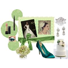 """Wedding Daydreams"" A-Line Structured Gown with Lace Sleeves and Embellishments, Statement Shoes in Accent Color - Deep Turquoise, Subtle Green Tones, Pearl, Diamond, and White Gold.  Simple, Elegant, and Natural."