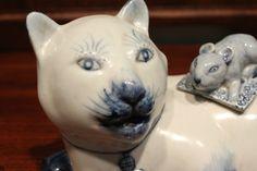 Уникальные Винтаж Синий и белый фарфор Кошка с Rat крышкой | eBay