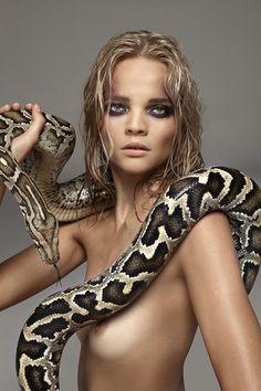 Python with nude girl Burmese