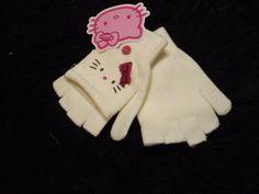 new white Hello Kitty fingerless mittens gloves stretch pull back cover 1 size #hellokitty #Fingerlessmittens