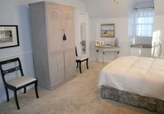 Bedroom ~ armoire found on street; was ugly brown; painted it grey, added applicees and crystal knobs