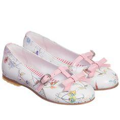 Simonetta Girls White Floral Leather Shoes  at Childrensalon.com