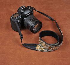 Retro Flower Handmade Leather Camera Strap Black 8461