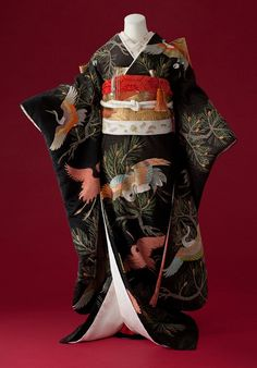 Partly-embroidered silk Furisode and obi, featuring motifs of flying cranes and pine. About 1940-1960, Japan. ~AmyLH~