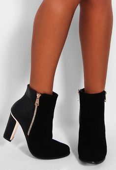 Nantes Black Snakeskin and Suedette Ankle Boot | Pink Boutique