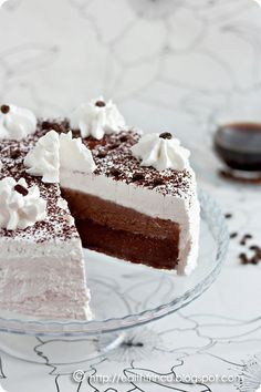 Tort cu Cafea/ Cake with Coffee & Cocoa Romanian Desserts, Romanian Food, Sweet Tarts, Yummy Cakes, Cake Designs, Vanilla Cake, Cheesecake, Food And Drink, Sweets