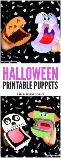 Free Printable Halloween Puppets. A fun printable Halloween activity for kids at home or in the classroom.