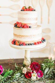 Semi-naked berry cake from a Modern Rustic Baby Shower on Kara's Party Ideas | KarasPartyIdeas.com (27)