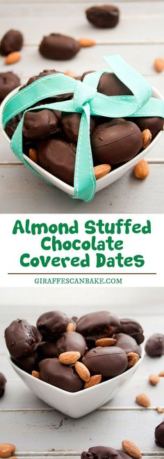 Are you looking for some healthier snacks? Almond Stuffed Chocolate covered Dates is a sweet, sticky dates stuffed with cinnamon roasted almonds, covered in rich dark chocolate. So simple to make and perfectly sweet healthy snacks. #snacks #chocolate #covereddates #almond
