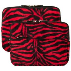 Red Zebra Print Design VG Lushly Faux Fur Sleeve Cover for Samsung Galaxy Tab 3 10.1