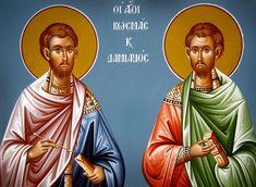 Άγιοι Ανάργυροι Κοσμάς και Δαμιανός: Οι θαυματουργοί γιατροί της Ορθοδοξίας Byzantine Icons, Orthodox Christianity, Orthodox Icons, Catholic, Saints, Culture, Painting, Projects, Art