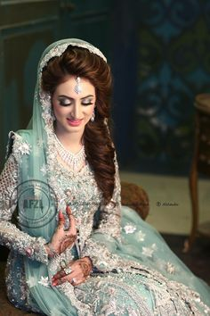 Beautiful silver and sea green Pakistani Bridal Couture, Pakistani Bridal Makeup, Pakistani Wedding Outfits, Bridal Outfits, Indian Bridal Photos, Pakistan Bride, Bridal Makeover, Bridal Photoshoot, Bride Look