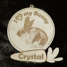 I Love My Bunny (or pick a breed) Custom Personalized Pet  Photo Ornament. Rabbit Christmas Keepsake or Urn Medallion. Laser-engraved Wood from the NeverTooPersonal Etsy Shop