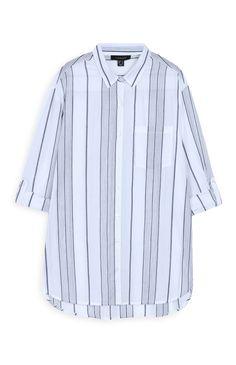 Primark - Camisa a rayas azul marino