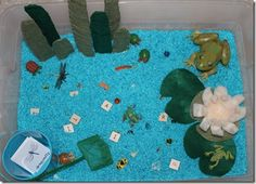 Pond theme, goo ideas for the frog theme box I want to do. I like the letters being used to spell.