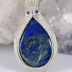 Sterling Silver Feather Frame and Lapis Lazuli Pendant