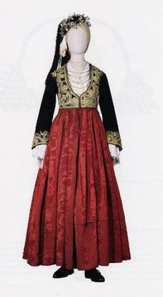 Clothes from Cyprus. Urban festive costume of the century. Greek Traditional Dress, Traditional Outfits, Tribal Costume, Folk Costume, Greece Costume, Planet Fashion, Ethnic Dress, Greek Clothing, Ottoman