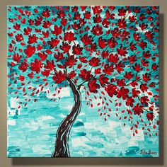 "Original Large Painting Blooming Red Tree Blossoms Landscape Modern Art 30"" Thick Texture Palette Knife Art by Julia Bars"