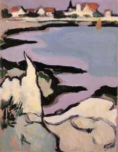 John Duncan Fergusson 1874-1961   Rocks and a Bay