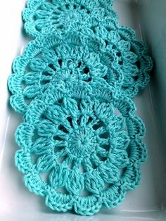 Turquoise crochet coaster