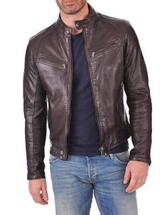 Men/'s Classic Style Black Casual Soft Designer Lambskin Leather Jacket 1152