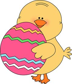 easter clipart | Chick Carrying Easter Egg Clip Art Image - cute yellow chick carrying ...