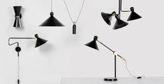 Ogilvy Swing Arm Wall Lamp, Matt Black and Antique Brass | made.com