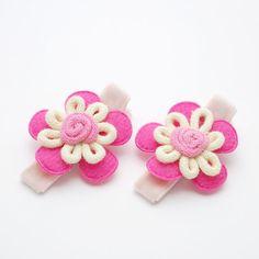 Pink Flower Velvet Hair Clips - No Slip Baby Hair Clips by spunkybunny, $4.00