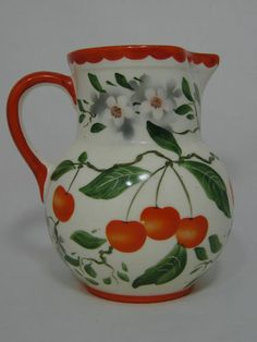 ERPHILA ART POTTERY CZECHOSLOVAKIA CHERRY AIRBRUSHED HAND PAINTED PITCHER CZECH