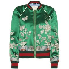 Embroidered silk bomber jacket ($2,970) ❤ liked on Polyvore featuring outerwear, jackets, bomber jacket, tops, gucci, green jacket, flight jacket, gucci jacket and blouson jacket