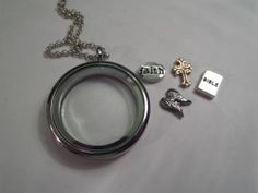 SILVER 30 mm Floating Living locket religous Charms wings, Bible, Cross, Faith