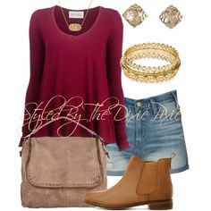 A fashion look from July 2014 featuring v neck sweater, denim shorts and leather boots. Browse and shop related looks.