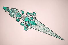 Crystalline dagger. Sketch & tattoo work.    by Aleksei Kosenkov, via Behance