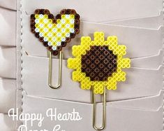 Sunflower and Matching Heart Planner Clips | Bookmarks | Spring Time | Paper Clip | Planner Accessory | Office Decor | Gift Ideas | Desk