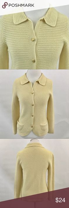 Talbots silk cardigan size large Button closure. Two hip pockets. Yellow colored. Colors may vary slightly to lighting and photos. No holes or rips. Small dime size discoloration at right front hem. Measurements approximately as shown. ❌Smoke and pet free home. ⚡️Same/next day shipping. 💲Save by bundling or make a reasonable offer through the offer button. 🚫No holds, trades or modeling. 📦Wrapped and shipped with care. Talbots Sweaters Cardigans