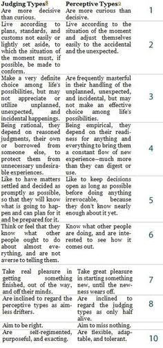 J or P? Myers Briggs