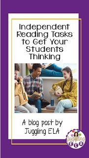 Independent Reading Tasks to Get Your Students Thinking. A blog post by Juggling ELA, School Resources, Teacher Resources, Classroom Resources, Reading Task Cards, Secondary Teacher, Middle School English, Independent Reading, Teaching Language Arts, Teacher Blogs