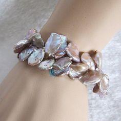 "8"" 9-15mm Lavender Keshi 2Row Freshwater Pearl Bracelet Pearl Jewelry  #PearlZone #StrandString"