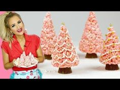 Rice Krispies Treat Christmas Trees | Pink & Gold Edible Xmas Tree // Lindsay Ann - YouTube Rice Krispie Treats, Rice Krispies, Christmas Treats, Family Christmas, Holiday Cakes, Xmas Tree, Cake Pops, Pink And Gold, Sweet Treats