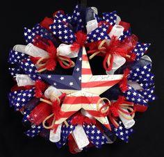 "Patriotic Wreaths 24"", Memorial or Labor Day, Veterans Day, RWB, Poly Mesh Wreath, Deco Mesh by wreathsbyrobin on Etsy https://www.etsy.com/listing/236367120/patriotic-wreaths-24-memorial-or-labor"