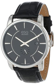 """Amazon.com: ESQ Movado Men's 07301413 """"esQ Capital"""" Stainless Steel Watch with Leather Band: Watches"""
