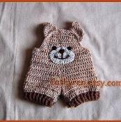 Baby Teddy Bear Overalls, Shorties - via @Craftsy