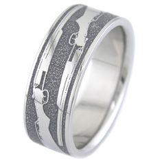 Titanium Wedding Ring The Shotgun Wedding Ring - Unique Titanium Rings Redneck Wedding Rings, Shotgun Wedding, Cool Wedding Rings, Custom Wedding Rings, Bridal Rings, Country Wedding Rings, Country Rings, Titanium Wedding Rings, Titanium Rings